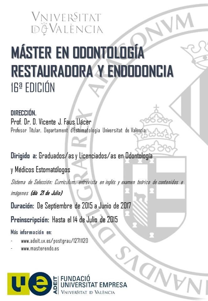 16 master en odontologia restauradora y endodoncia for Universidad valencia master
