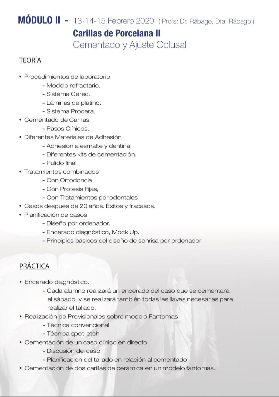 CURSO CARILLAS Y CORONAS CEODONT